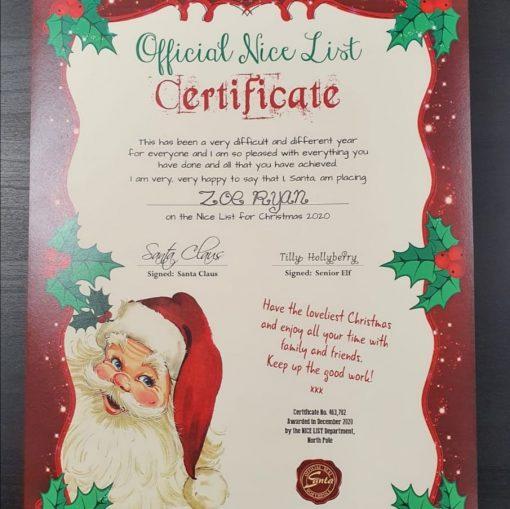 Official Nice List Certificate - A4 2