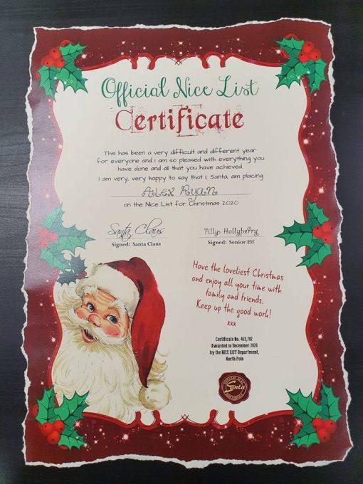 Official Nice List Certificate - A3 3
