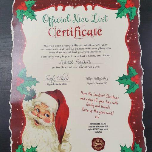 Official Nice List Certificate - A3 1