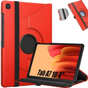 """360 Rotating Leather Case For Samsung Galaxy Tab A7 10.4"""" - Red 1"""